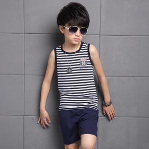 @  BOY SLEEVELES SET STRIPE BLUE ( SZ 120 -160 )