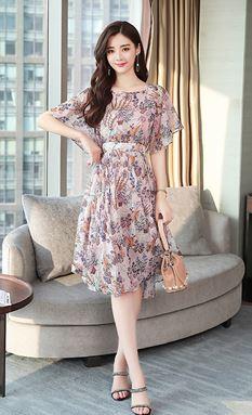 Chiffon Floral A-Line Dress