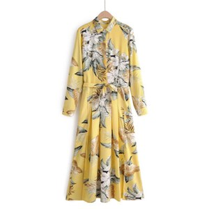 YELLOW FLORAL PRINTED DRESS