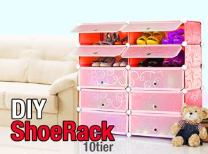 Plain Red 10C DIY Shoerack (SR10R)