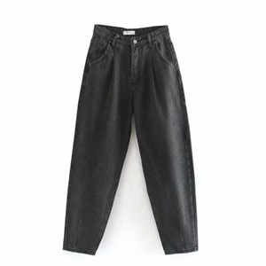 PLEATED LOOSE HIGH WAIST BAGGY JEANS IN DUSTY BLACK
