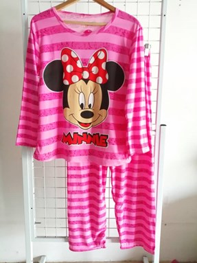 Pyjamas Dewasa Pink Stripe Minnie Ribbon