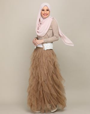 STELLA TULLE SKIRT IN BROWN
