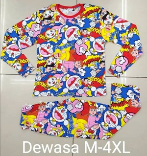 Pyjamas DORAEMON FRIENDS : Size DEWASA XL, 3XL