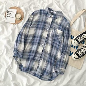 WHITE AND BLUE FLANNEL SHIRT