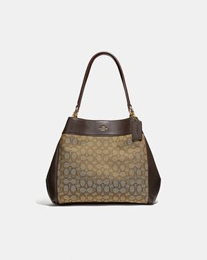 COACH Lexy Shoulder Bag In Signature Jacquard KHAKI/BROWN/LIGHT GOLD