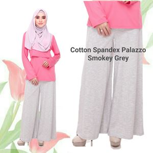 Palazzo Cotton Spandex (Smokey Grey) Maternity Friendly with Adjustable Waistband, S ONLY