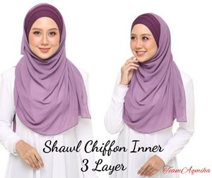 SHAWL CHIFFON INNER 3 LAYER (LELONG)