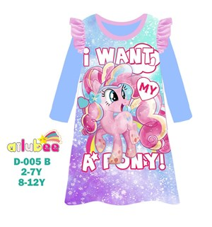 @  AILUBEE  PONY  DRESS  SLEEPWEAR ( D005-B  ) SZ  2Y - 12Y