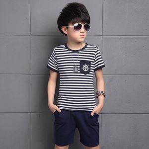 BOY SET STRIPE BLUE. ( SZ 120 -160 )