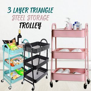 3 LAYER TRIANGLE STEEL STORAGE TROLLEY