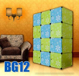 FLOWER CHECKER GREEN BLUE 12C DIY WARDROBE (BG12)