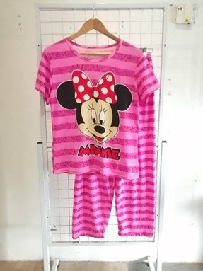 Pyjamas Dewasa Short Sleeve Minnie Stripe Pink