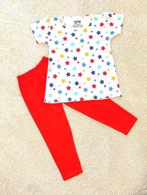 [SIZE 1/2Y] Girl Set : MIX STAR WHITE WITH RED PANT (1y - 8y) SDM