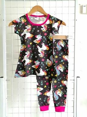 Pyjamas UNICORN BLACK : Kids 2 - 8