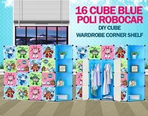 RoboCar Poli Blue 16C DIY Cube w Corner Rack (PL16BR)