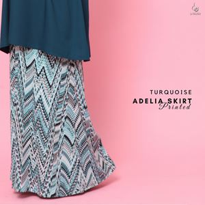 Adelia Skirt Printed : Turquoise