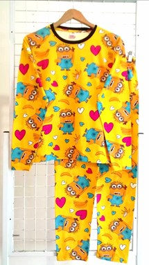 Pyjamas MINION LOVE YELLOW : Size DEWASA L-2XL (GL)
