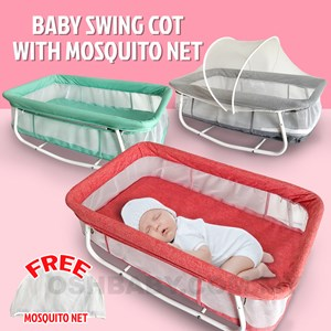 BABY SWING COT WITH MOSQUITO NET