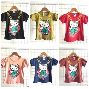 T-Shirt Girl Short Sleeve Hello Kitty: Size 2-8 (1 - 6 tahun)