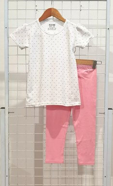 [SIZE 3/4Y - 5/6Y] Girl Set : LOTUS WHITE WITH LIGHT PINK PANT (1y - 8y) SDM