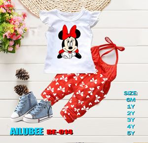 BE014 ( MINNIE RED-SHORT SLEEVE ) AILUBEE BABY JUMPSUIT 2PCS SET