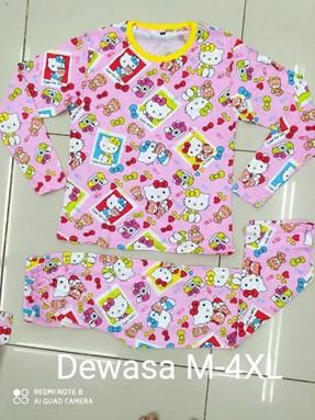 Pyjamas HELLO KITTY FRAME PINK : Size DEWASA M- 4XL