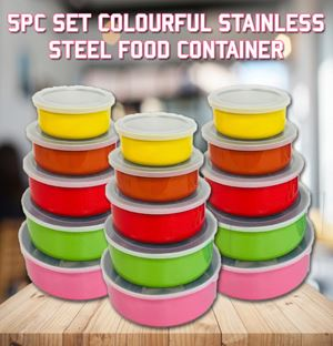 5Pc Set Colourful Stainless Steel Food Container