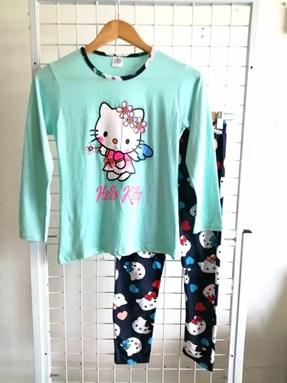Pyjamas PLAIN HELLO KITTY ANGEL Mint Green - Long Sleeve 1y-8y