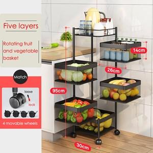 5 layer Multifunctional Rotating Rak Dapur Kitchen Storage Rack
