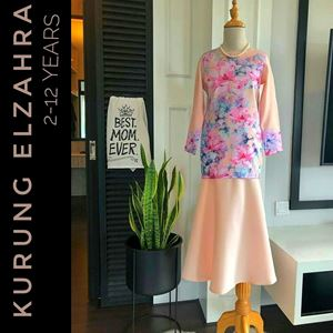 ELZAHRA MODERN KURUNG FOR KIDS ( PEACH)