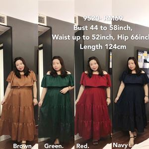 9520 Ready Stock *Bust 44 to 58 inch/ 111-147cm