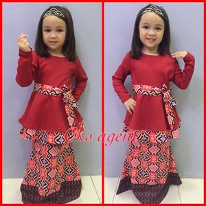 BATIK PEPLUM BAJU KURUNG ( MARROON)