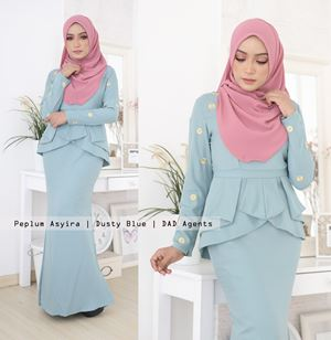 Peplum Asyira Pleated Dusty Blue