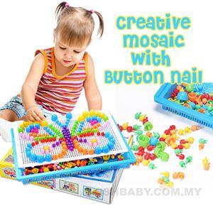 CREATIVE MOSAIC WITH BUTTON NAIL