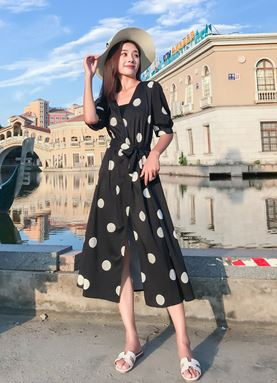 Black Polka Dot Chiffon Dress (Large Size)