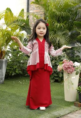 BAJU KURUNG PEPLUM FISH TAIL (RED)