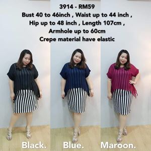 3914 Ready Stock *Bust 40 to 46 inch/ 101-116cm