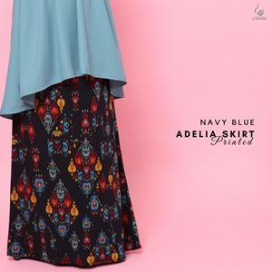 Adelia Skirt Printed : Navy Blue