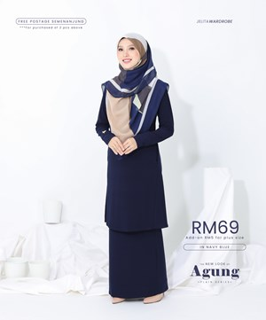 NEW LOOK AGUNG PLAIN IN NAVY BLUE (WITH POCKET)