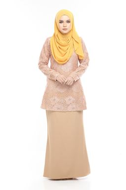 BLOW OUT CLEARANCE ~ Kurung Moden Lace Auliya - Golden Brown