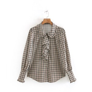BOW TIE FLANNEL PRINTED TOP