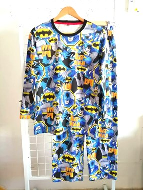 Pyjamas BATMAN BLUE : Size DEWASA M - 2XL