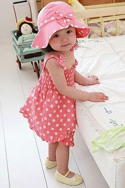 SGB337  Girls Polka Dots Dress + Panties + Hat 3 Pieces Set ( Size 80 )