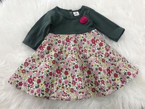 LAST PIECE SALE : Aisya Dress (Green with Red Flower)