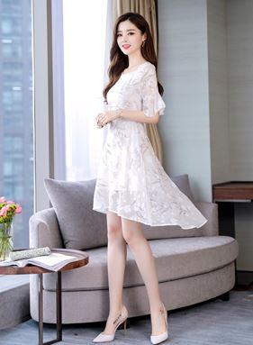 Slim Creamy-White Fairy Chiffon Dress