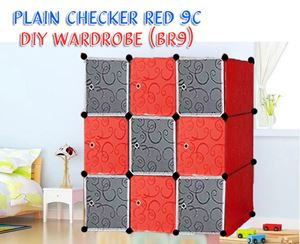 PLAIN CHECKER RED 9C DIY WARDROBE (BR9)