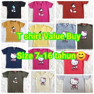 T-Shirt Value Buy:  Size 7-16 tahun