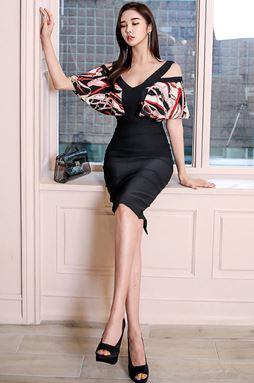 V-neck Strapless Chiffon Stitching Dress