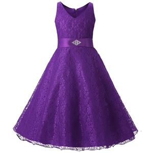 Girls Lace Princess Dress - PURPLE  ( SZ 130-160 )